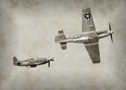 World War II fighter airplanes in flight