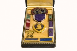 World War II Medals, Purple Heart, 82nd Airborne Paratrooper Insignia.