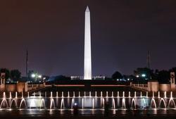 World War II Memorial and Washington Monument at night