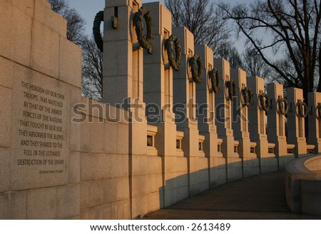 World War II Memorial at Sunrise with Quote by President Truman and State Pillars