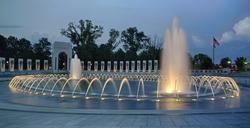 World War II Memorial Fountain at night.