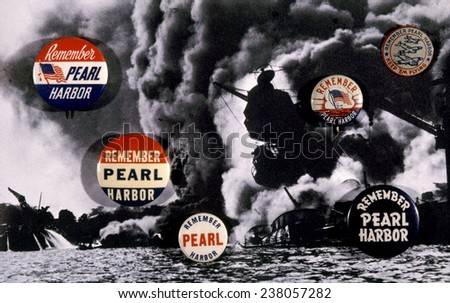World War II, 'Remember Pearl Harbor' poster, featuring an official U.S. Navy photo of the U,S,S, Arizona afire, December 7, 1941,