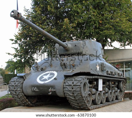 World War II tank on display in Normandy, France