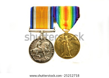 World War 1 medals, British War Medal and Victory Medal.  Together with the 1914 Star, they were known as Pip, Squeak, and Wilfred. Isolated on white.
