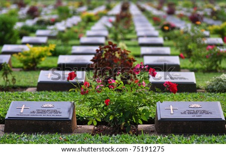 World War 2 Memorial Cemetery at Kanchanaburi, Thailand