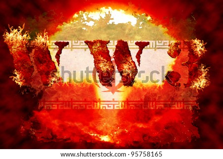 World war 3 nuclear background, a sensitive world issue, useful for various icon, banner, background, global economy conceptual design.