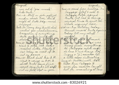 World War One American Soldier's Diary Pages - stock photo