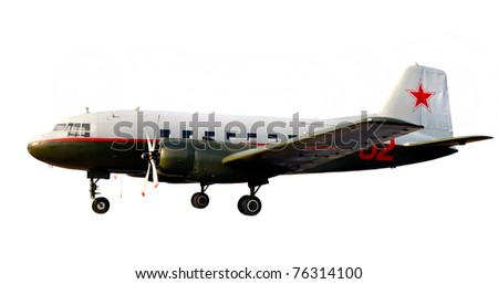 world war two lend-lease retro propeller airplane dc-3 or li-2 isolate over white with sunset shine - stock photo