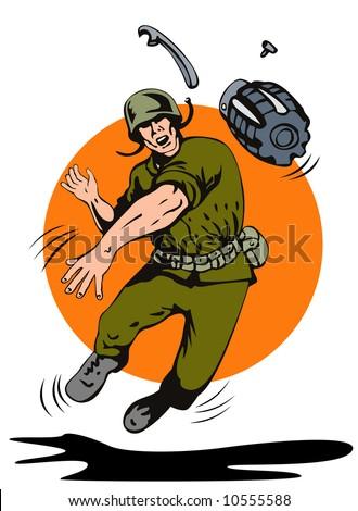 World war two soldier lobbing a hand grenade