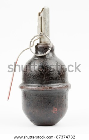 World War Two Soviet hand grenade isolated on a white background