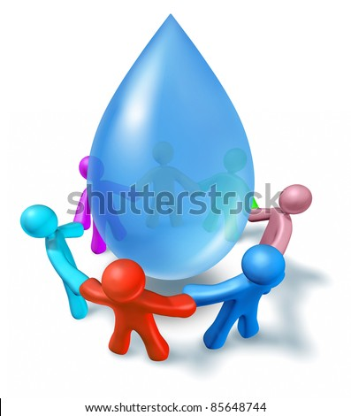 World water health network with cooperation represented by a blue drop of h2o and people of different colors connected in a network holding hands for clean drinking water.