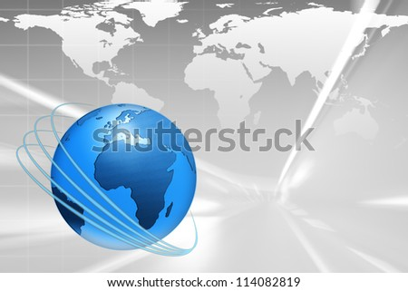 World wide Internet illustration with blue globe and space for text