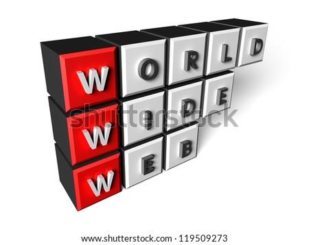 World Wide Web composed of three-dimensional blocks