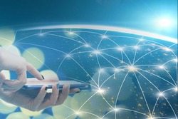 world wide web, global digital technology for business, internet networks in mobile phone concept, modern futuristic communication on globe in smartphone, Element of the image provided by NASA