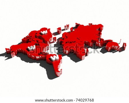 world wide web sign www on red map