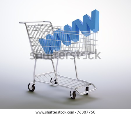 World wide web symbol inside a shopping cart