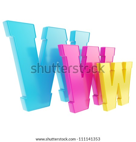 World wide web www cmyk colored glossy letter symbol isolated on white background