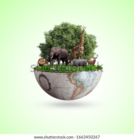 world wildlife by Animal,s on earth, wildlife concept, environment day, design, card, poster,  world wildlife day, 3rd March. ForestDay, 21th, world biodiversity day, world day of endangered species