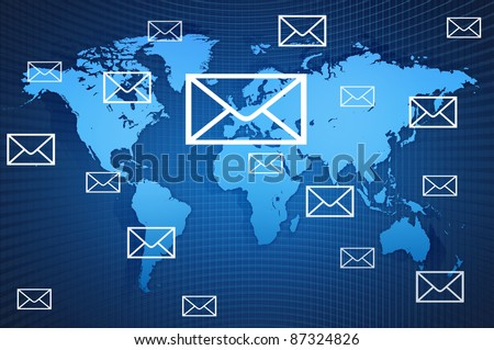 World wind Mail communication on World Map
