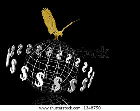 World with circulating dollars, symbol of wealth, eagle on top, financial concept, copy space.