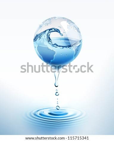 world with dripping water