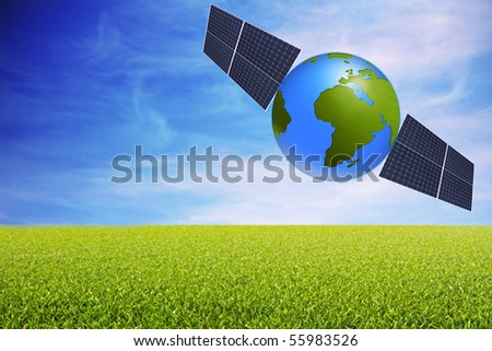 world with solar panels with grass and sky background