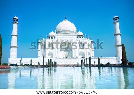 World wonder Taj Mahal in soft daily light with clear blue sky