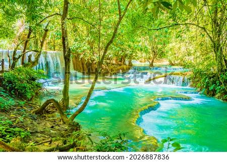 Worlds most beautiful waterfalls turquoise Kuang Si waterfall in Luang Prabang Laos. Zdjęcia stock ©