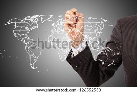 Worldwide business map on presentation board, world map http://www.lib.utexas.edu/maps