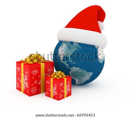 Worldwide Merry Christmas celebration - stock photo