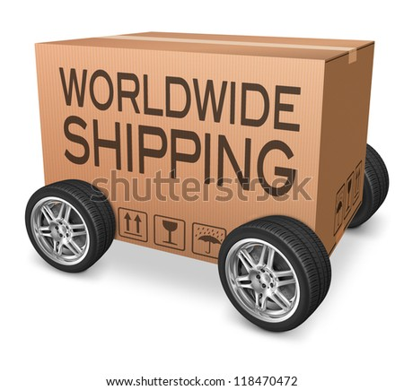 worldwide package delivery international trade import and export e commerce cardboard box with text importing and exporting