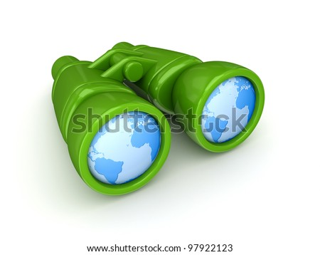 Worldwide search concept.Isolated on white background.3d rendered.