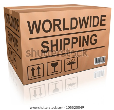 worldwide shipping  cardboard box global and international order delivery shipment