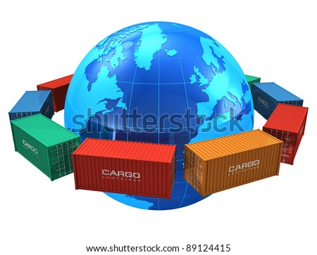 Worldwide shipping concept: row of color cargo containers around the blue Earth globe isolated on white background