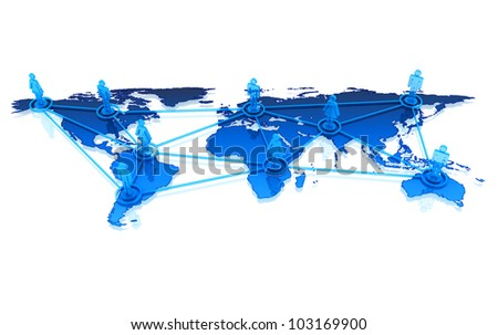 Worldwide social network concept. Communication lines over world map.