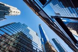 Worm's-eye view architecture background , Midtown Manhattan, New York.