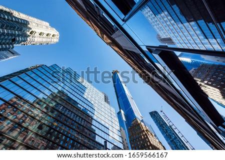 Worm's-eye view architecture background , Midtown Manhattan, New York City, USA