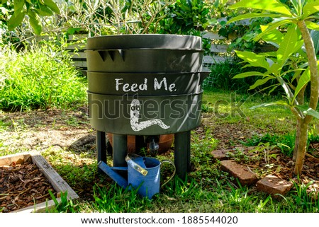 wormery compost bin in organic Australian garden with Feed Me worm sign, sustainable living and zero waste lifestyle Foto d'archivio ©