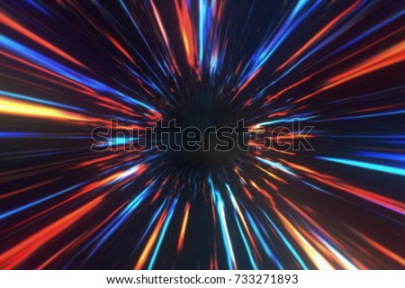 Wormhole right in time and space, clouds and millions of stars. Acceleration directly through this scientific wormhole with the space. 3d illustration