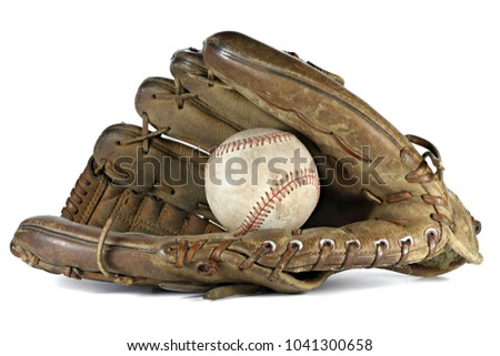 worn baseball and glove isolated on white background #1041300658