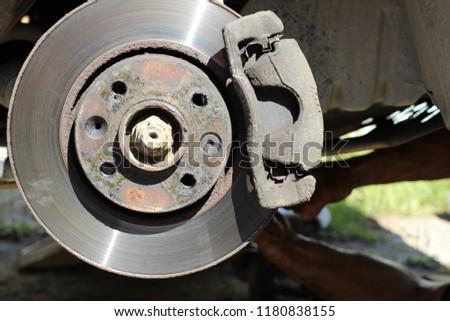 Worn Car Brake Disk brake caliper repair #1180838155