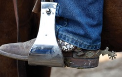 Worn Cowboy Boots with Blue Jeans