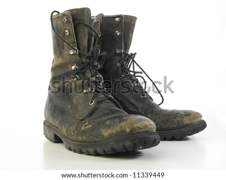 Worn old combat boots
