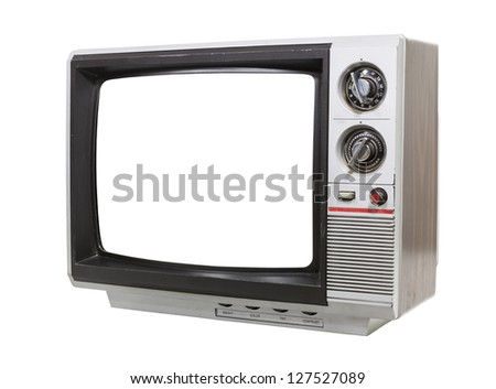 Worn old grungy portable television isolated with clipping path.