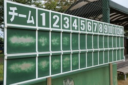 Worn-out scoreboards in baseball and softball stadiums