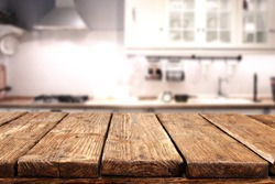 worn table of wood in kitchen