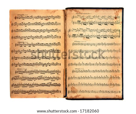 Worn Tattered Distressed Vintage Book With Music Printed on the Pages