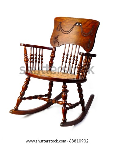stock photo : Worn vintage antique adult rocking chair
