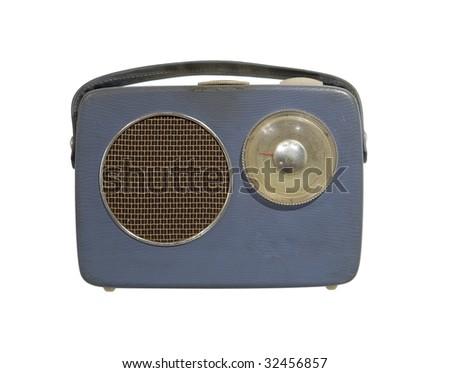 Worn vintage radio isolated towards white background