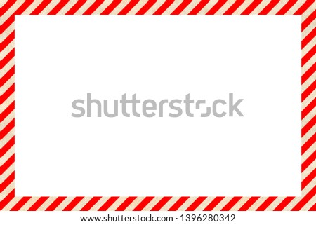 Worn warning sign red and white stripes frame, industrial background #1396280342